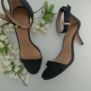 Ann Taylor Black Leather Ankle Strap Heels, 9M